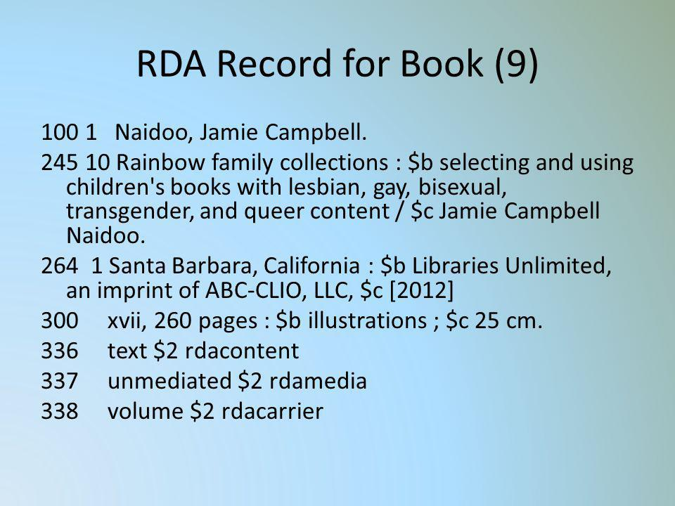RDA Record for Book (9) 100 1 Naidoo, Jamie Campbell. 245 10 Rainbow family collections : $b selecting and using children's books with lesbian, gay, b