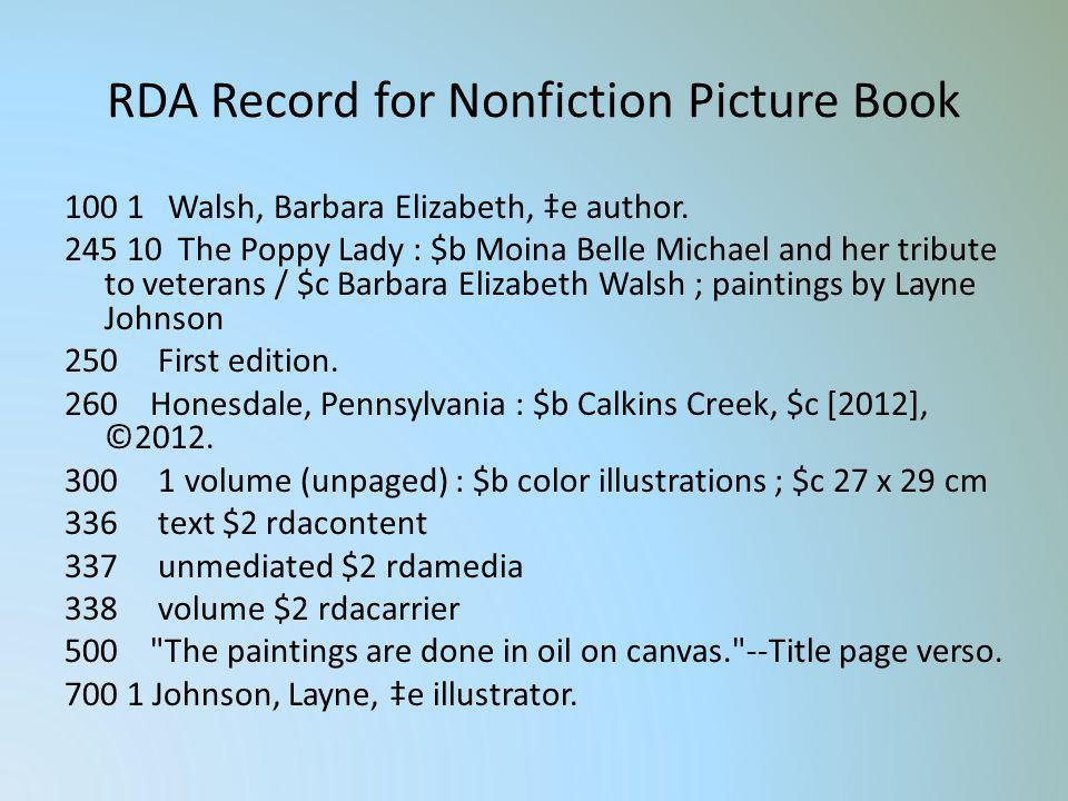 RDA Record for Nonfiction Picture Book 100 1 Walsh, Barbara Elizabeth, e author. 245 10 The Poppy Lady : $b Moina Belle Michael and her tribute to vet