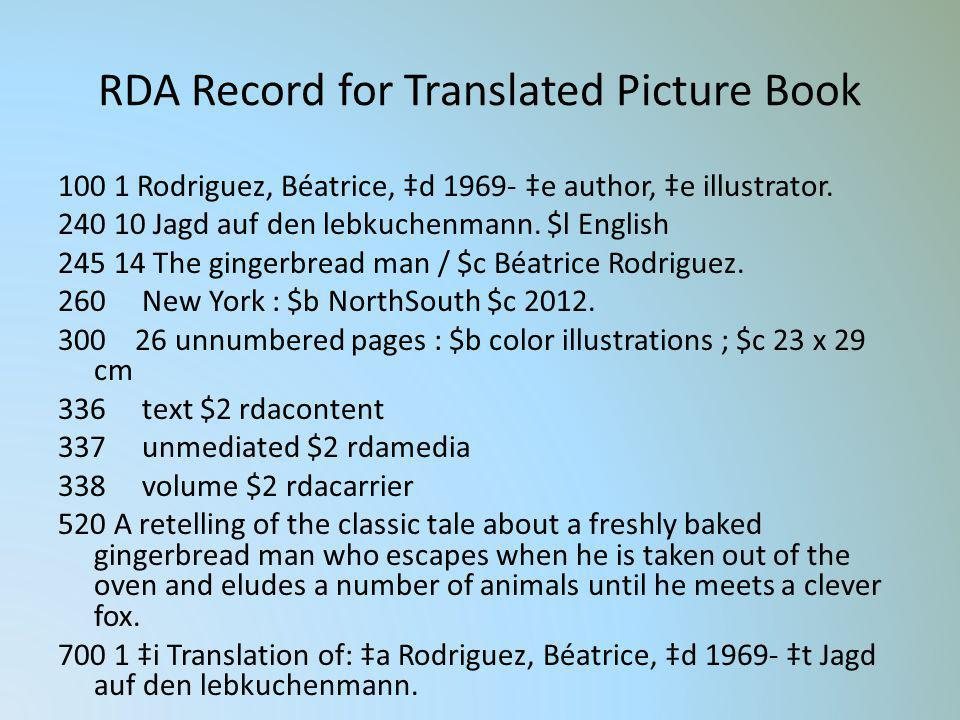 RDA Record for Translated Picture Book 100 1 Rodriguez, Béatrice, d 1969- e author, e illustrator. 240 10 Jagd auf den lebkuchenmann. $l English 245