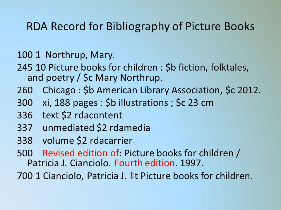 RDA Record for Bibliography of Picture Books 100 1 Northrup, Mary. 245 10 Picture books for children : $b fiction, folktales, and poetry / $c Mary Nor