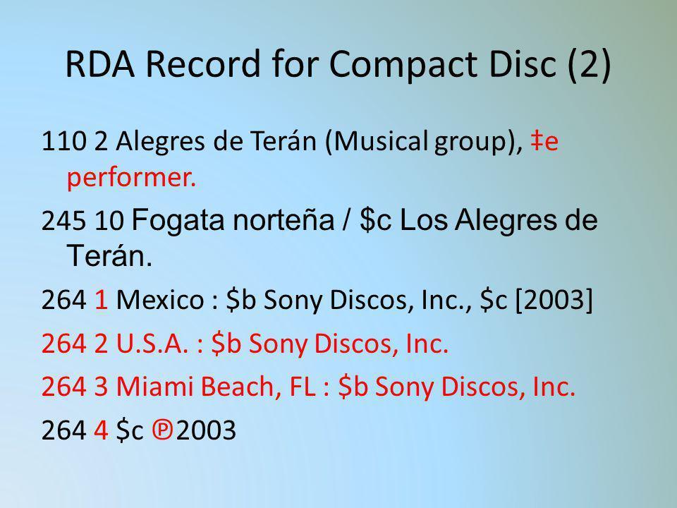 RDA Record for Compact Disc (2) 110 2 Alegres de Terán (Musical group), e performer. 245 10 Fogata norteña / $c Los Alegres de Terán. 264 1 Mexico