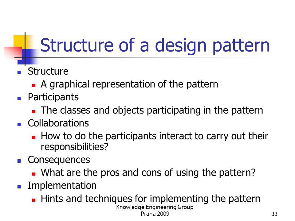 Structure of a design pattern Structure A graphical representation of the pattern Participants The classes and objects participating in the pattern Co