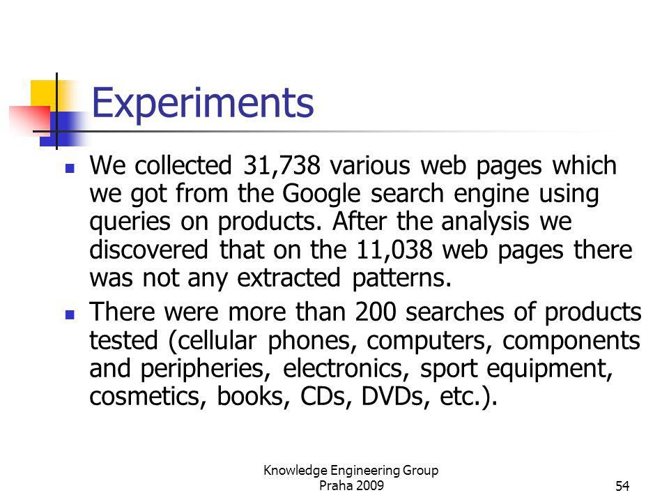 Experiments We collected 31,738 various web pages which we got from the Google search engine using queries on products. After the analysis we discover