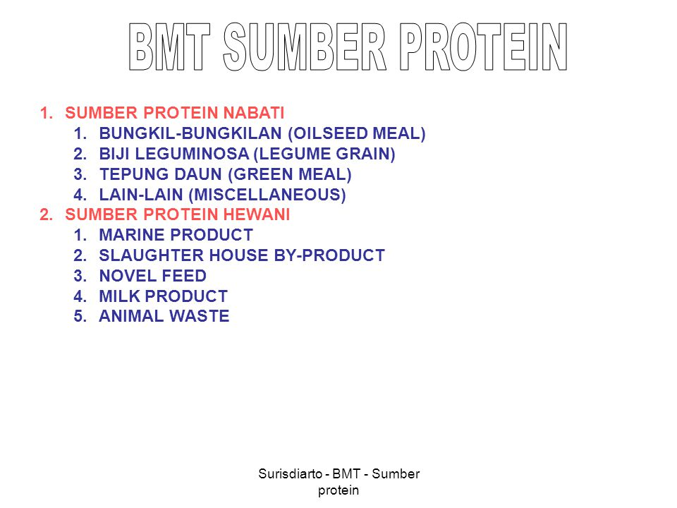 Surisdiarto - BMT - Sumber protein 1.SUMBER PROTEIN NABATI 1.BUNGKIL-BUNGKILAN 1.SOYBEAN MEAL 2.COTTON SEED MEAL 3.GROUNDNUT MEAL 4.RAPE SEED MEAL 5.SUNFLOWER MEAL 6.COCONUT MEAL 7.SESAME MEAL 8.CASTOR SEED MEAL 9.KAPOK SEED MEAL 2.BIJI LEGUMINOSA 1.KACANG HIJAU 2.KEDELE 3.BIJI KECIPIR 3.TEPUNG DAUN 1.DAUN LAMTORO 2.DAUN UBI JALAR, DLL 4.
