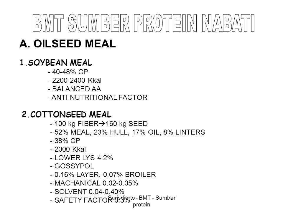 Surisdiarto - BMT - Sumber protein 3.GROUNDNUT MEAL - 44-47% CP, 13% CF, 7% FAT - 2300 Kkal - LOWER LYS - TANNIN 4.COCONUT MEAL - 35-40% RENDEMENT - 20-22% CP, 14% CF, 18% FAT - LOWER LYS, 3% - 2000 Kkal - 20-24% INCLUSION