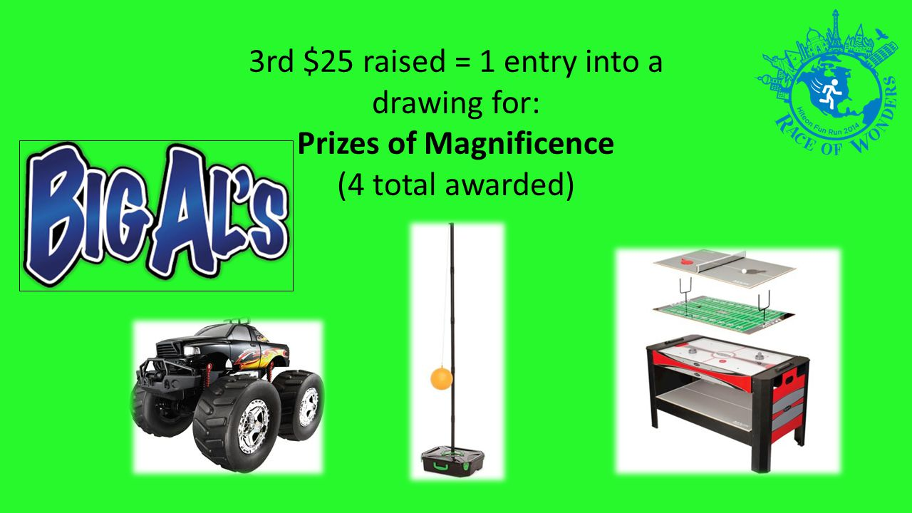 3rd $25 raised = 1 entry into a drawing for: Prizes of Magnificence (4 total awarded)