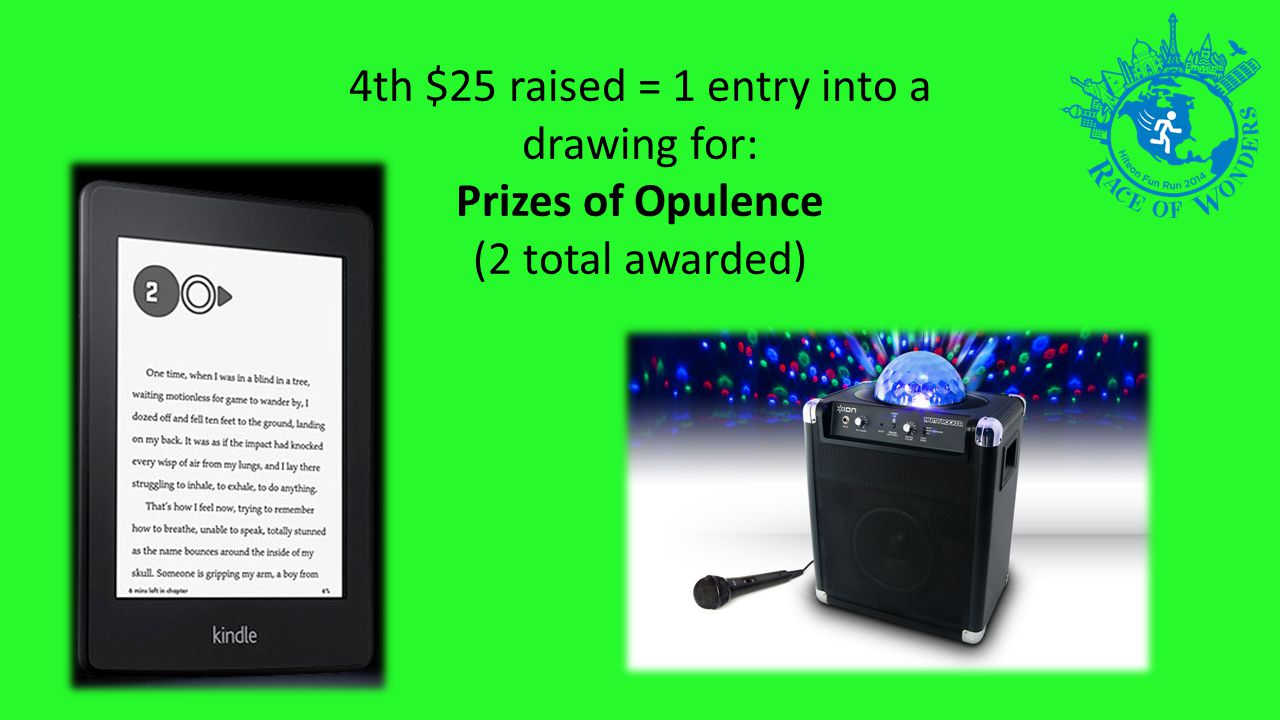 4th $25 raised = 1 entry into a drawing for: Prizes of Opulence (2 total awarded)