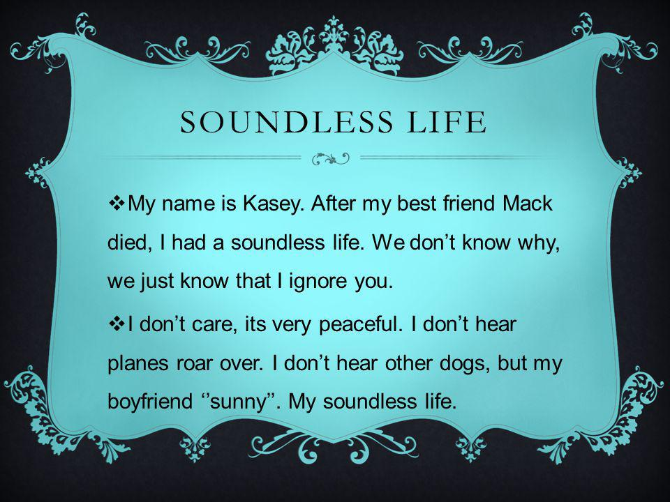 SOUNDLESS LIFE My name is Kasey.After my best friend Mack died, I had a soundless life.