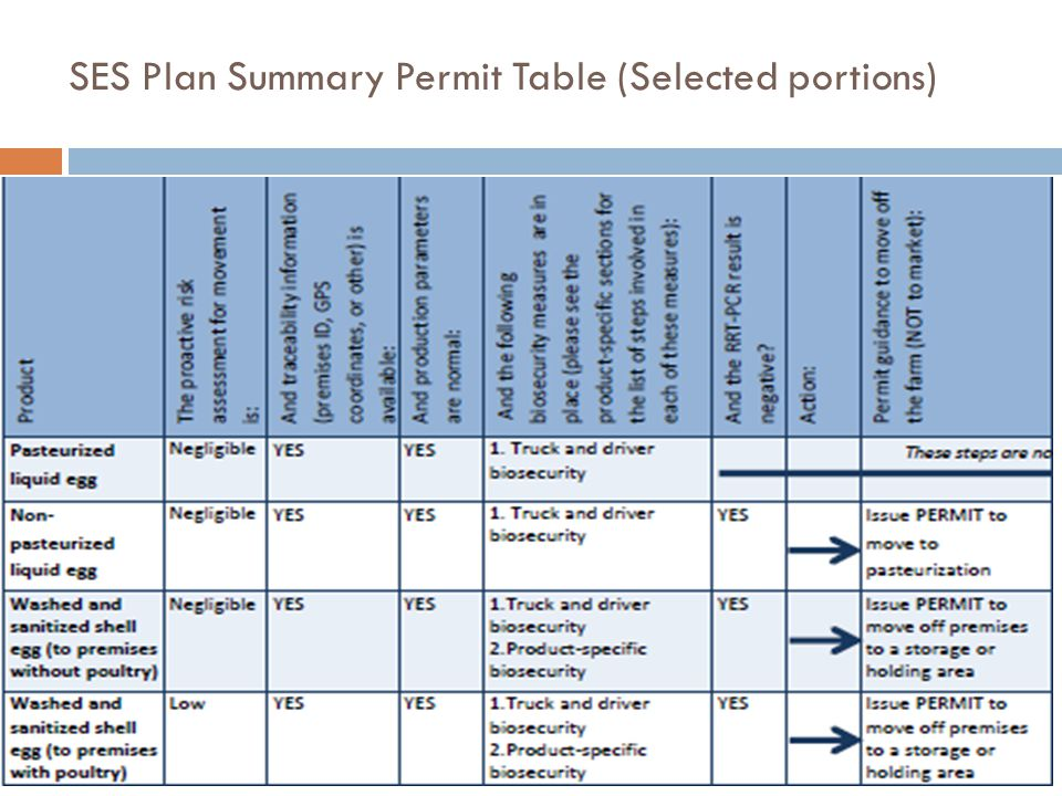 SES Plan Summary Permit Table (Selected portions)
