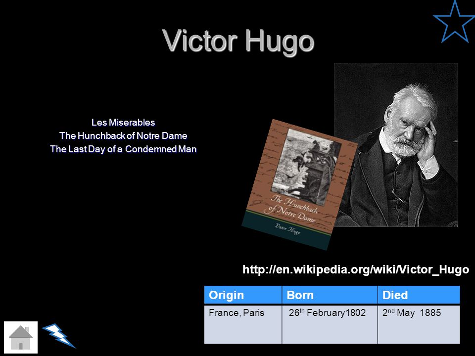 Victor Hugo Les Miserables The Hunchback of Notre Dame The Last Day of a Condemned Man OriginBornDied France, Paris 26 th February18022 nd May 1885 ht