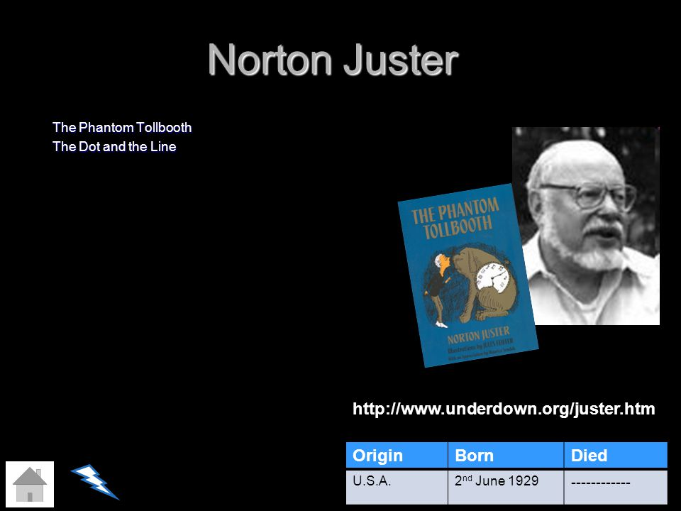 Norton Juster The Phantom Tollbooth The Dot and the Line OriginBornDied U.S.A.2 nd June 1929 ------------ http://www.underdown.org/juster.htm