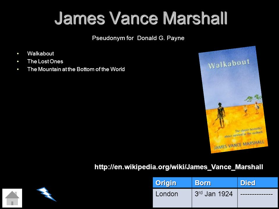 James Vance Marshall Walkabout The Lost Ones The Mountain at the Bottom of the World OriginBornDied London3 rd Jan 1924-------------- Pseudonym for Do