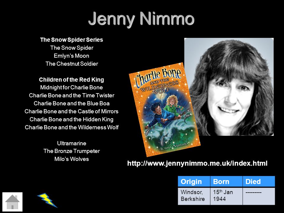 Jenny Nimmo The Snow Spider Series The Snow Spider Emlyns Moon The Chestnut Soldier Children of the Red King Midnight for Charlie Bone Charlie Bone an