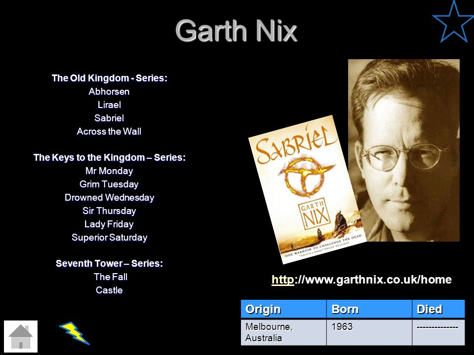 Garth Nix The Old Kingdom - Series: AbhorsenLiraelSabriel Across the Wall The Keys to the Kingdom – Series: Mr Monday Grim Tuesday Drowned Wednesday S