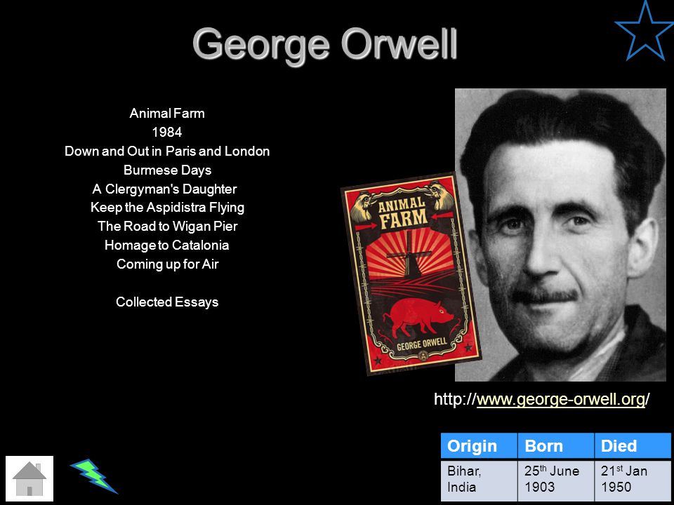 George Orwell Animal Farm 1984 Down and Out in Paris and London Burmese Days A Clergyman's Daughter Keep the Aspidistra Flying The Road to Wigan Pier