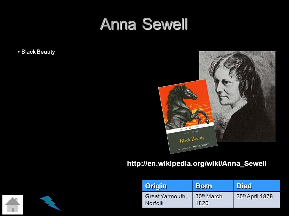 Anna Sewell OriginBornDied Great Yarmouth, Norfolk 30 th March 1820 25 th April 1878 Black Beauty http://en.wikipedia.org/wiki/Anna_Sewell