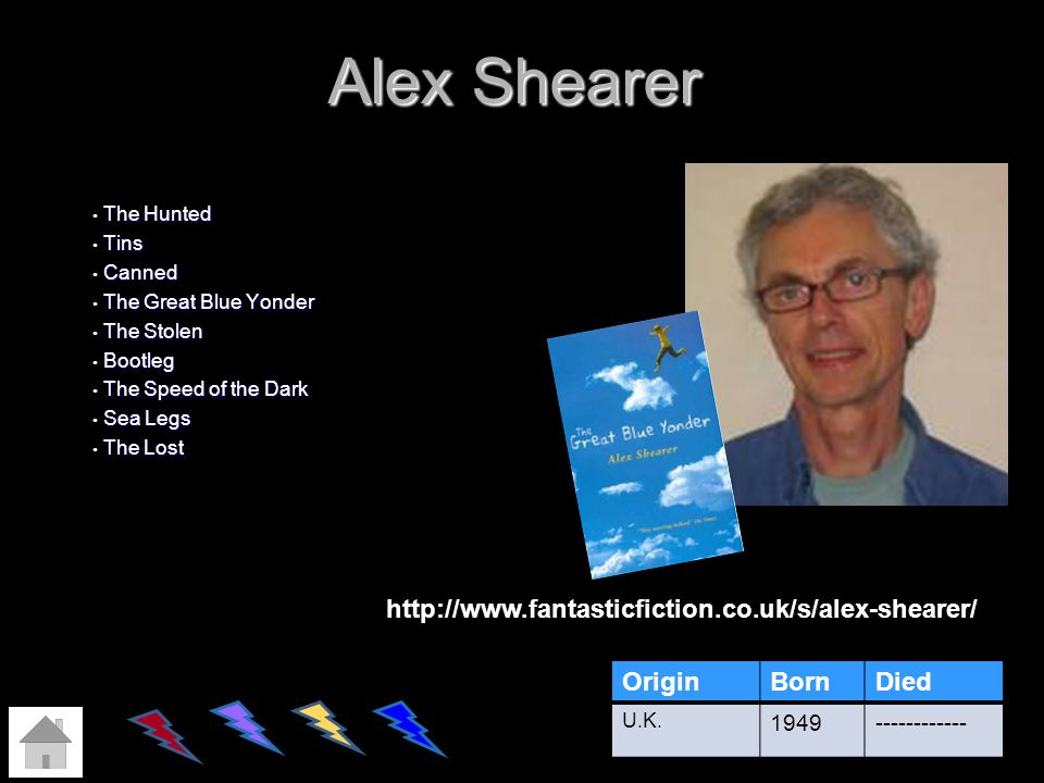 Alex Shearer The Hunted The Hunted Tins Tins Canned Canned The Great Blue Yonder The Great Blue Yonder The Stolen The Stolen Bootleg Bootleg The Speed