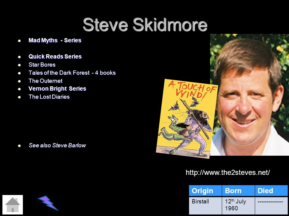 Steve Skidmore OriginBornDied Birstall12 th July 1960 -------------- http://www.the2steves.net/ Mad Myths - Series Mad Myths - Series Quick Reads Seri
