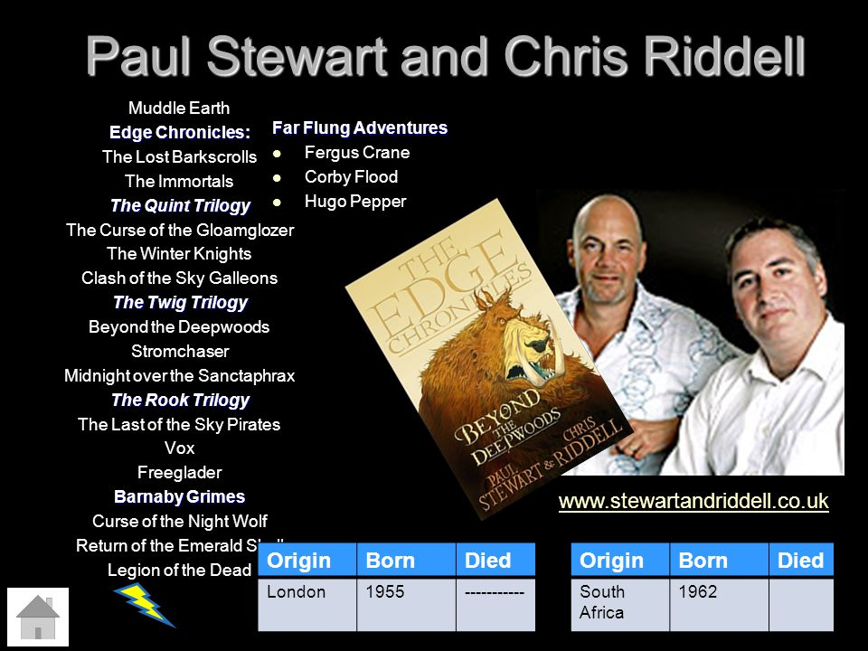 Paul Stewart and Chris Riddell Muddle Earth Edge Chronicles: The Lost Barkscrolls The Immortals The Quint Trilogy The Curse of the Gloamglozer The Win