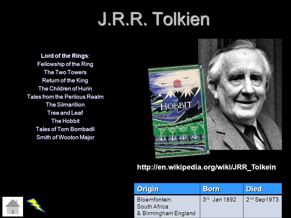 J.R.R. Tolkien Lord of the Rings: Fellowship of the Ring The Two Towers Return of the King The Children of Hurin Tales from the Perilous Realm The Sil