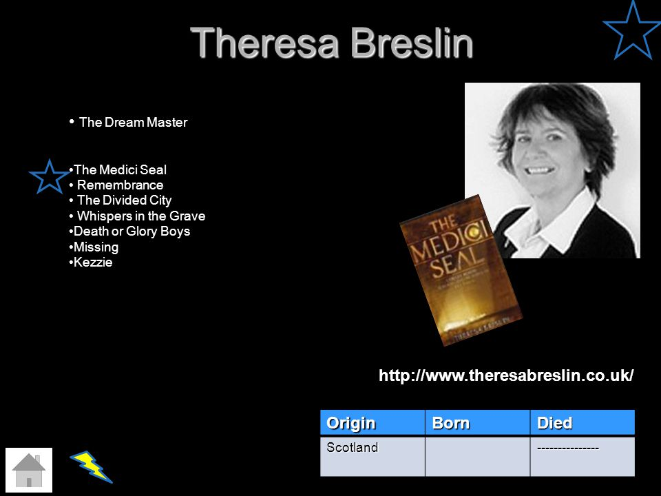 Theresa Breslin OriginBornDied Scotland--------------- The Dream Master The Medici Seal Remembrance The Divided City Whispers in the Grave Death or Gl