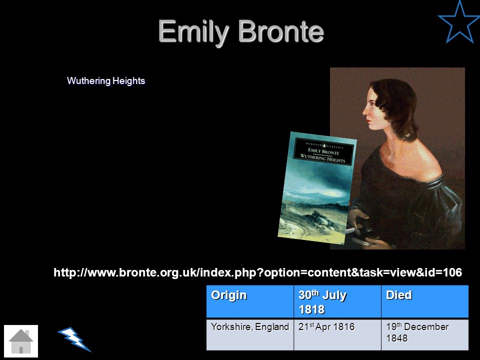 Emily Bronte Wuthering Heights Origin 30 th July 1818 Died Yorkshire, England 21 st Apr 1816 19 th December 1848 http://www.bronte.org.uk/index.php?op