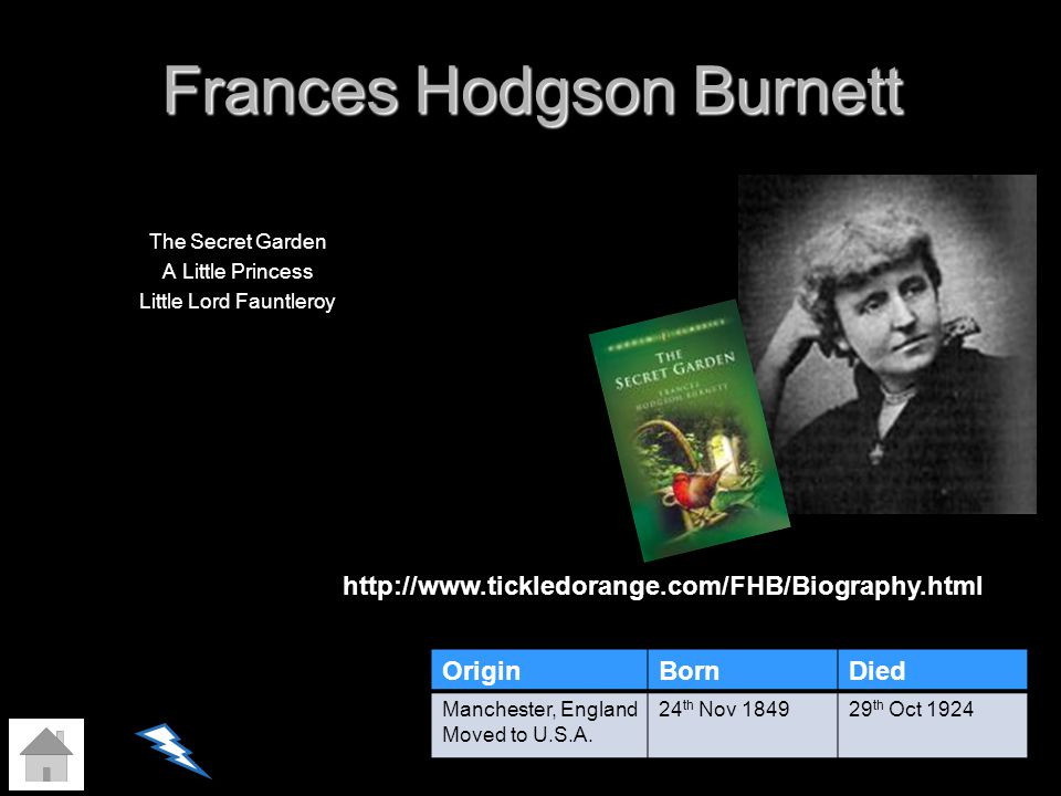 Frances Hodgson Burnett The Secret Garden A Little Princess Little Lord Fauntleroy OriginBornDied Manchester, England Moved to U.S.A. 24 th Nov 184929