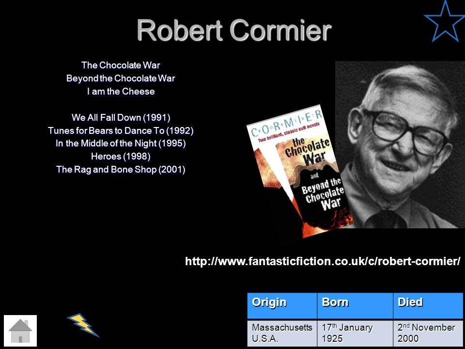 Robert Cormier The Chocolate War Beyond the Chocolate War I am the Cheese We All Fall Down (1991) Tunes for Bears to Dance To (1992) In the Middle of