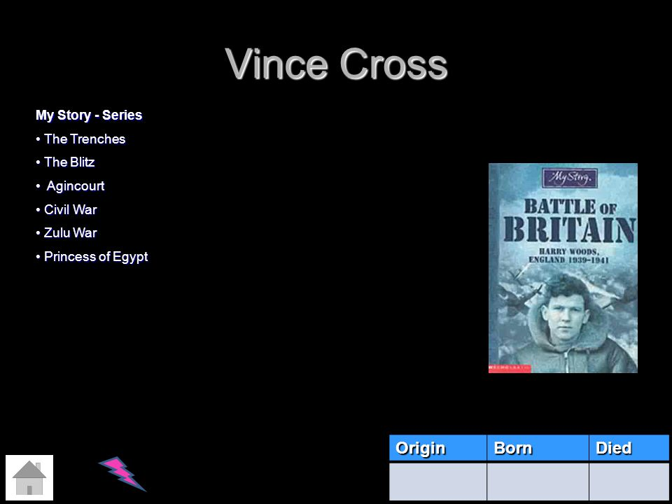 Vince Cross OriginBornDied My Story - Series The Trenches The Trenches The Blitz The Blitz Agincourt Agincourt Civil War Civil War Zulu War Zulu War P
