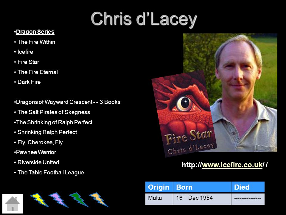 Chris dLacey OriginBornDied Malta16 th Dec 1954--------------- Dragon Series The Fire Within Icefire Fire Star The Fire Eternal Dark Fire Dragons of W