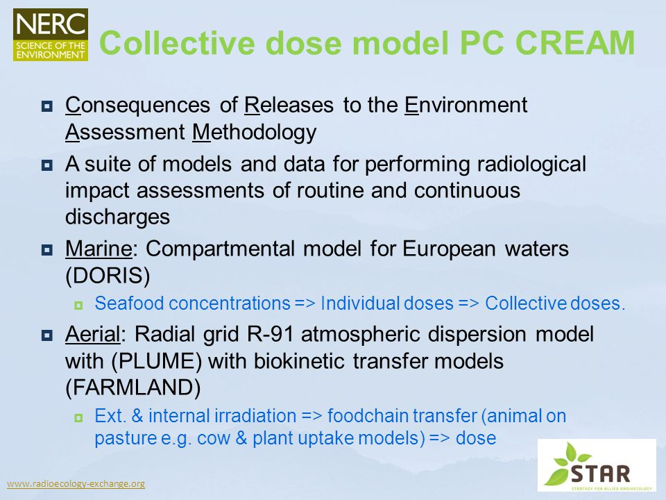 www.radioecology-exchange.org Consequences of Releases to the Environment Assessment Methodology A suite of models and data for performing radiologica