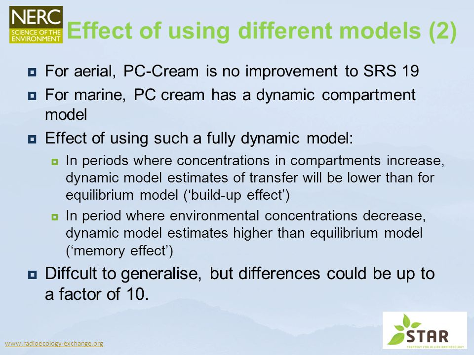 www.radioecology-exchange.org For aerial, PC-Cream is no improvement to SRS 19 For marine, PC cream has a dynamic compartment model Effect of using su