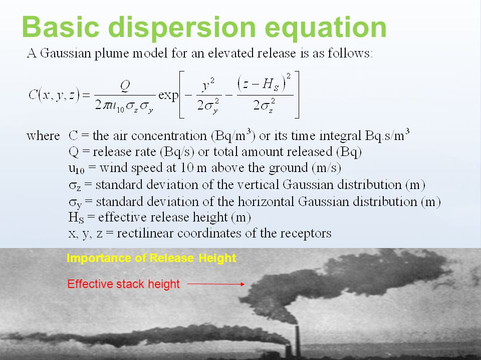 www.ceh.ac.uk/PROTECT Importance of Release Height Basic dispersion equation Effective stack height