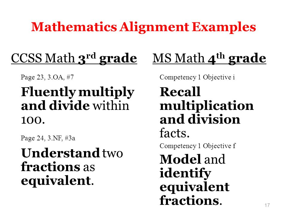 17 Mathematics Alignment Examples CCSS Math 3 rd grade Page 23, 3.OA, #7 Fluently multiply and divide within 100.