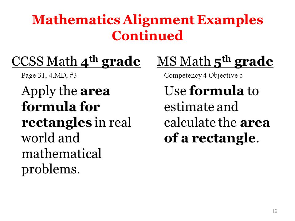 19 Mathematics Alignment Examples Continued CCSS Math 4 th grade Page 31, 4.MD, #3 Apply the area formula for rectangles in real world and mathematical problems.