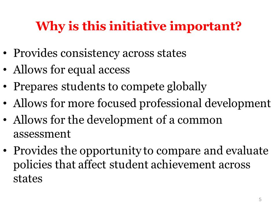 5 Why is this initiative important.