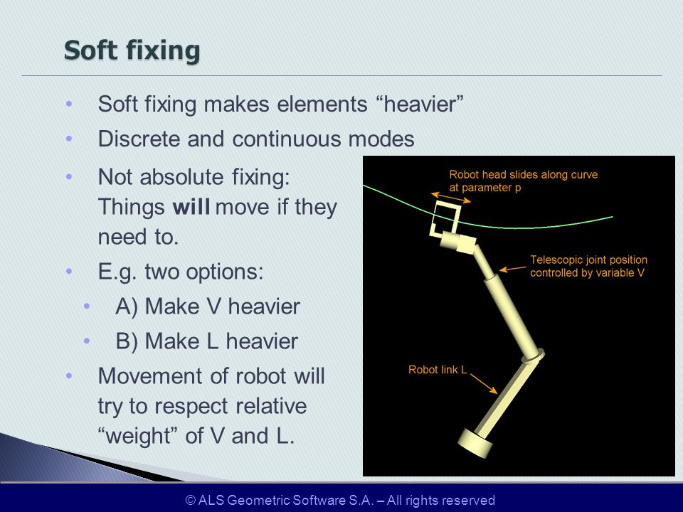 Soft fixing makes elements heavier Discrete and continuous modes Not absolute fixing: Things will move if they need to. E.g. two options: A) Make V he