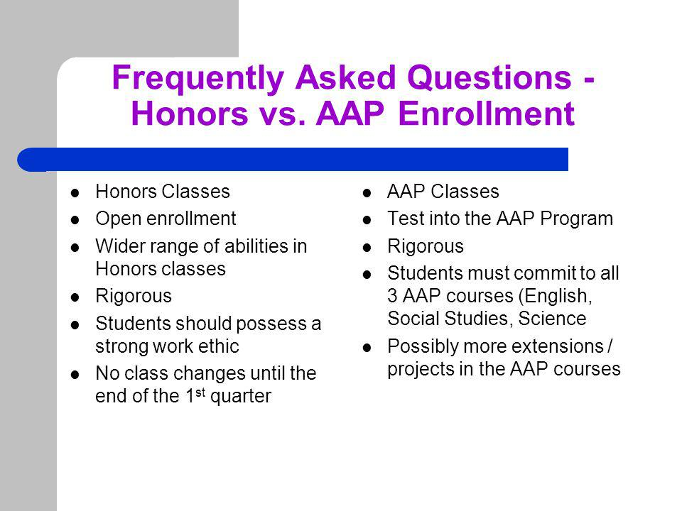 Frequently Asked Questions - Honors vs.