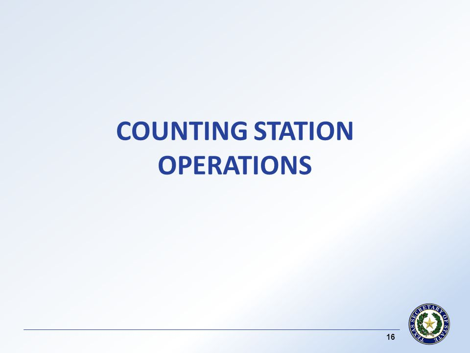 COUNTING STATION OPERATIONS 16