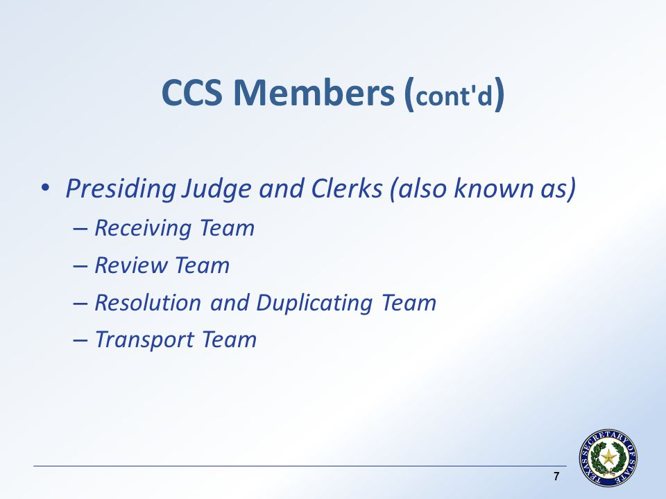 Checks and Balances - CCS ( contd ) The continuous feed real time audit log is examined for counting interruptions, unauthorized equipment tampering, or any other activity that might make the vote totals questionable.