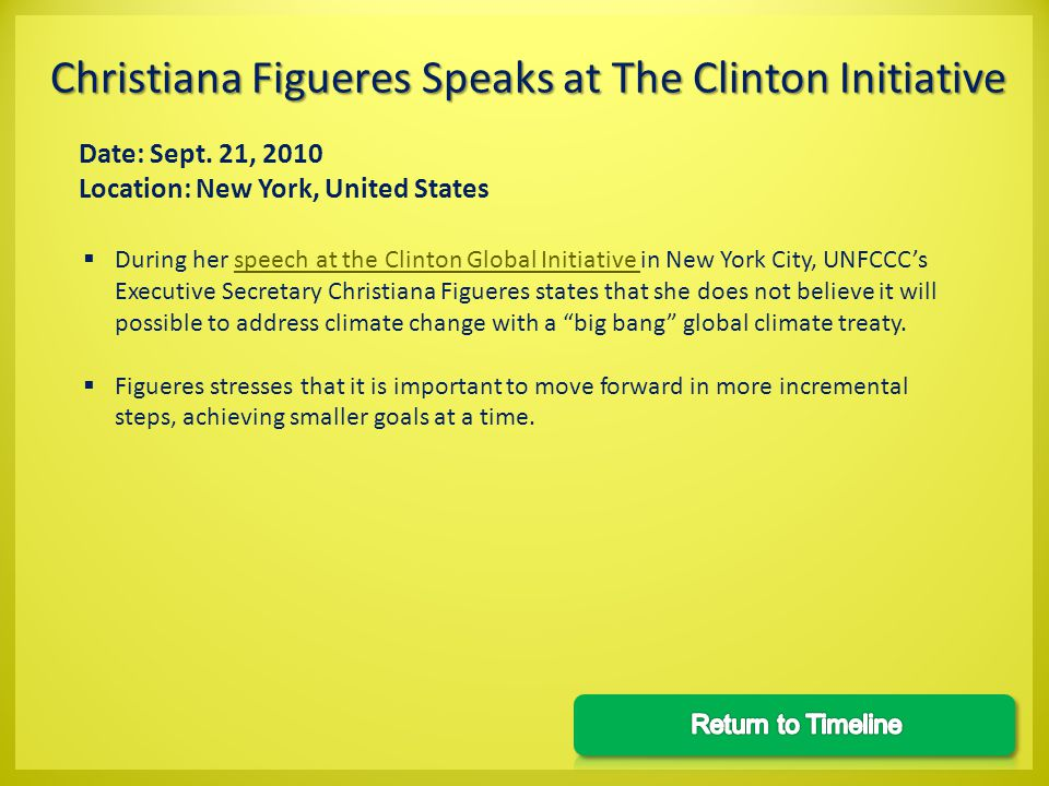Date: Sept. 21, 2010 Location: New York, United States During her speech at the Clinton Global Initiative in New York City, UNFCCCs Executive Secretar