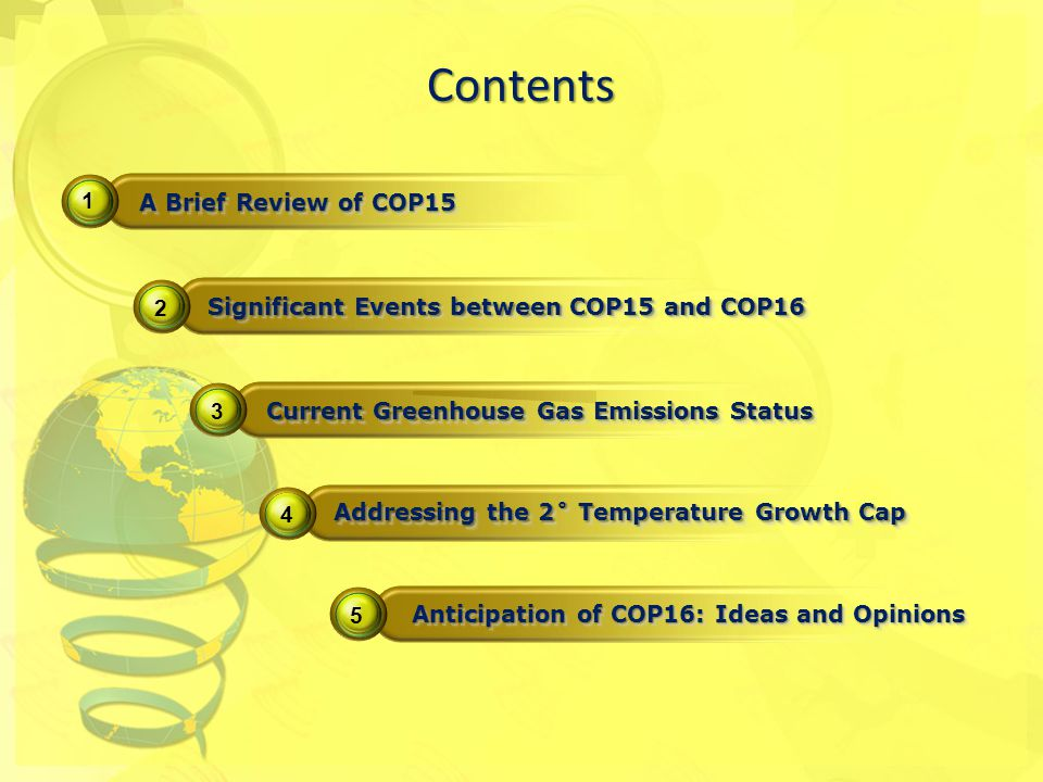 1 2 3 4 5 A Brief Review of COP15 Significant Events between COP15 and COP16 Current Greenhouse Gas Emissions Status Contents Anticipation of COP16: Ideas and Opinions Addressing the 2˚ Temperature Growth Cap