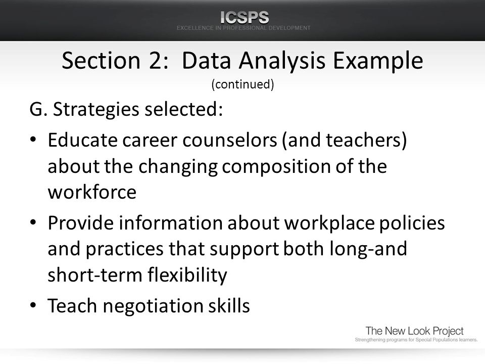 Section 2: Data Analysis Example (continued) G.