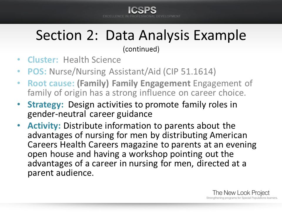 Section 2: Data Analysis Example (continued) Cluster: Health Science POS: Nurse/Nursing Assistant/Aid (CIP 51.1614) Root cause: (Family) Family Engagement Engagement of family of origin has a strong influence on career choice.