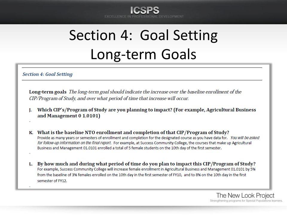 Section 4: Goal Setting Long-term Goals