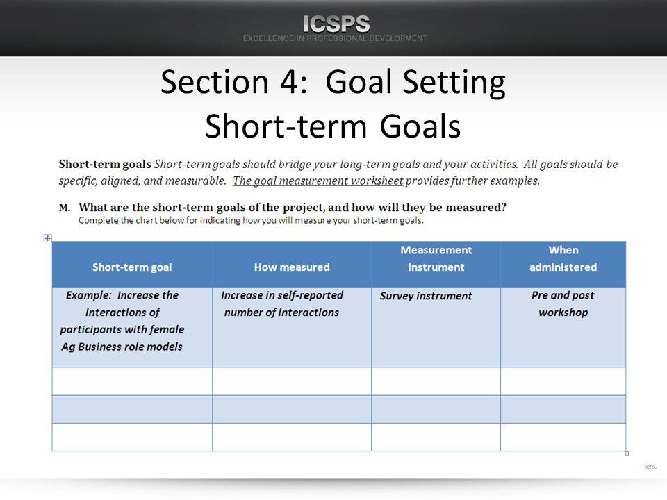 Section 4: Goal Setting Short-term Goals