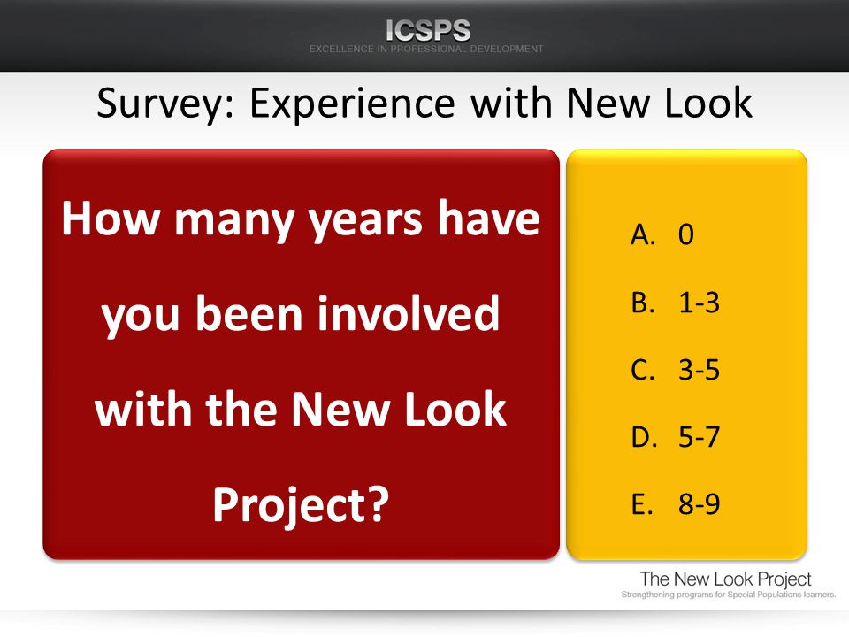Survey: Experience with New Look How many years have you been involved with the New Look Project.