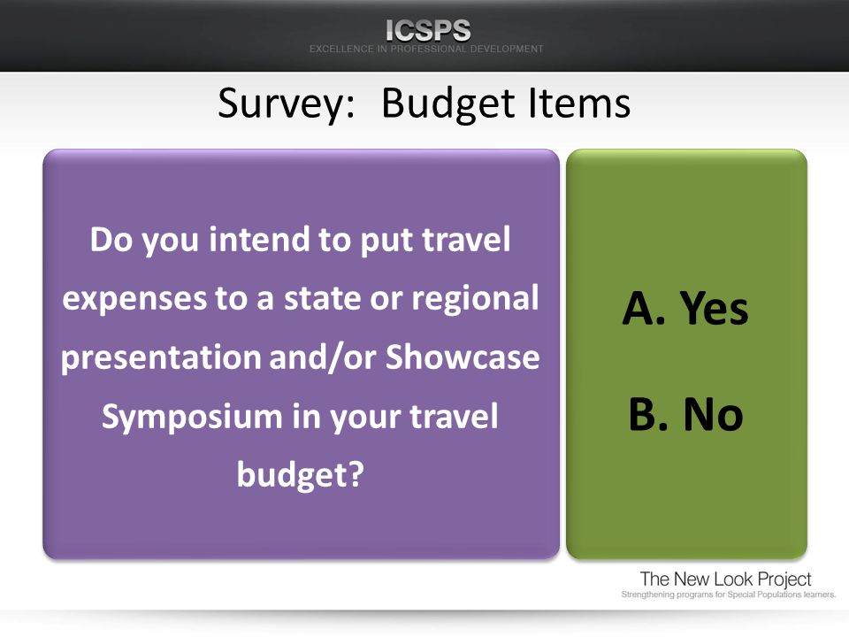 Survey: Budget Items Do you intend to put travel expenses to a state or regional presentation and/or Showcase Symposium in your travel budget.