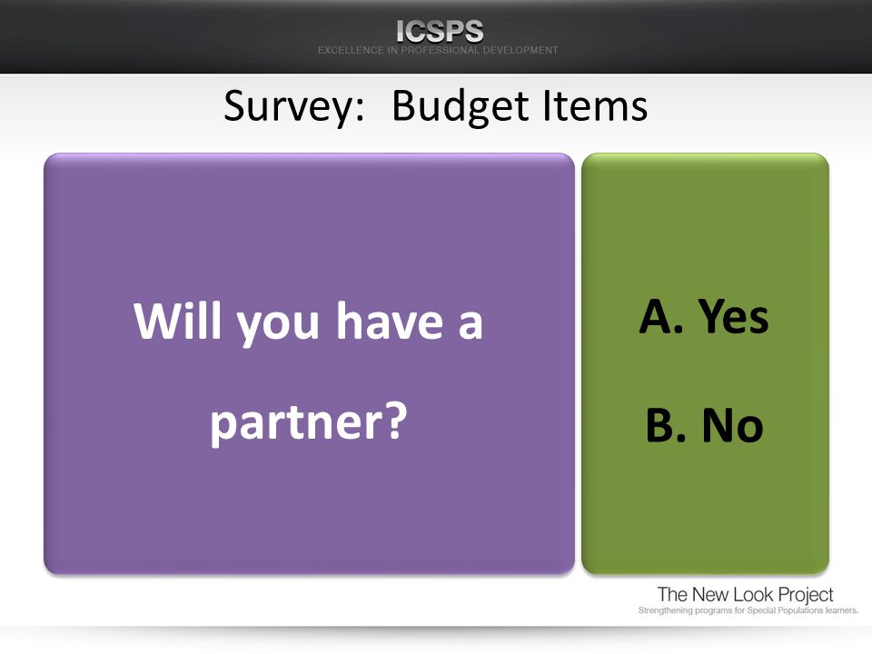 Survey: Budget Items Will you have a partner A. Yes B. No A. Yes B. No