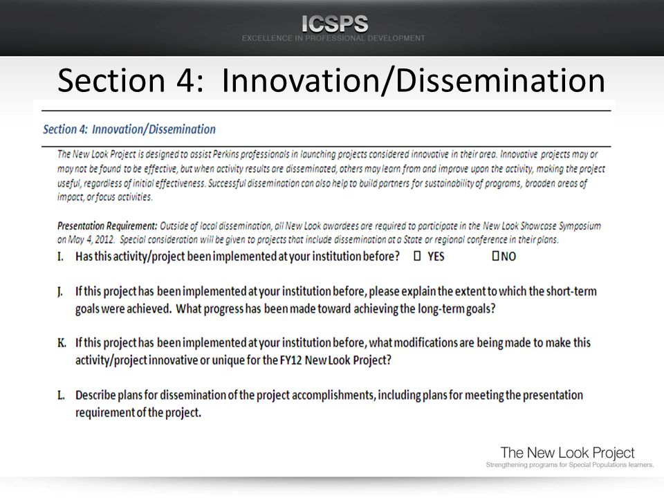 Section 4: Innovation/Dissemination